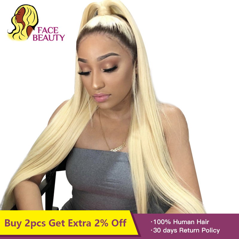 Facebeauty 1B 613 Half Wig 150 Density Pre Plucked Peruvian Remy Ombre Blonde Lace Front Straight Human Hair Wigs with Baby Hair(China)