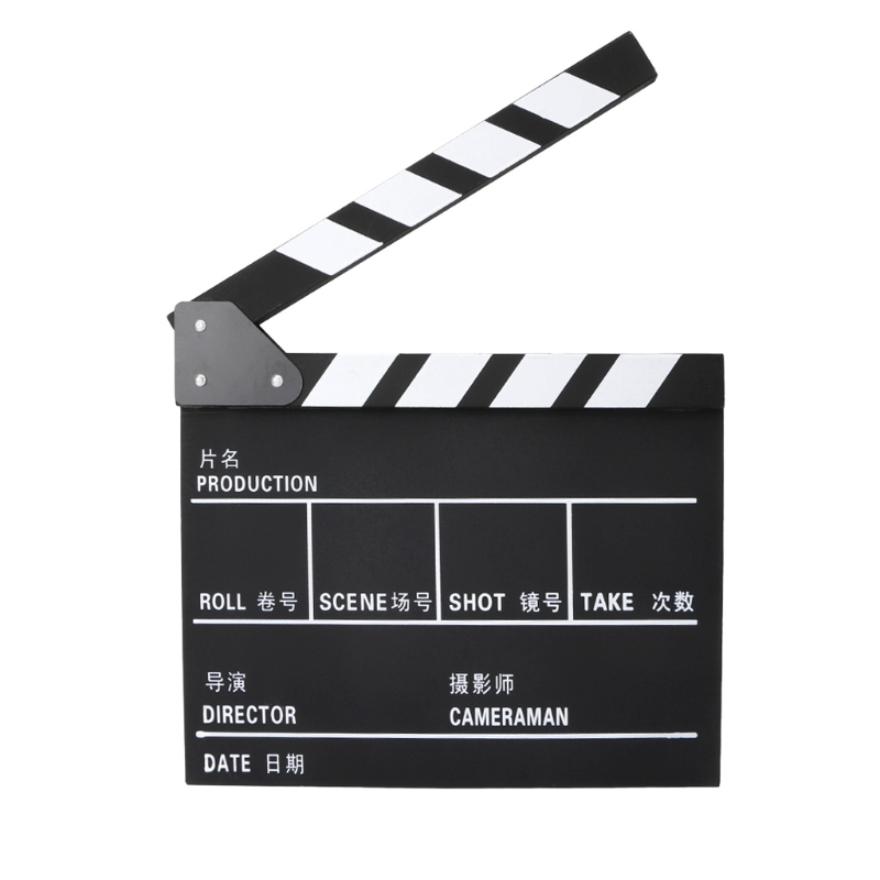 Funny Director Video Scene Clapperboard TV Movie Clapper Board Film Cut Prop Wood Made 31x 28cm Good Quality C42
