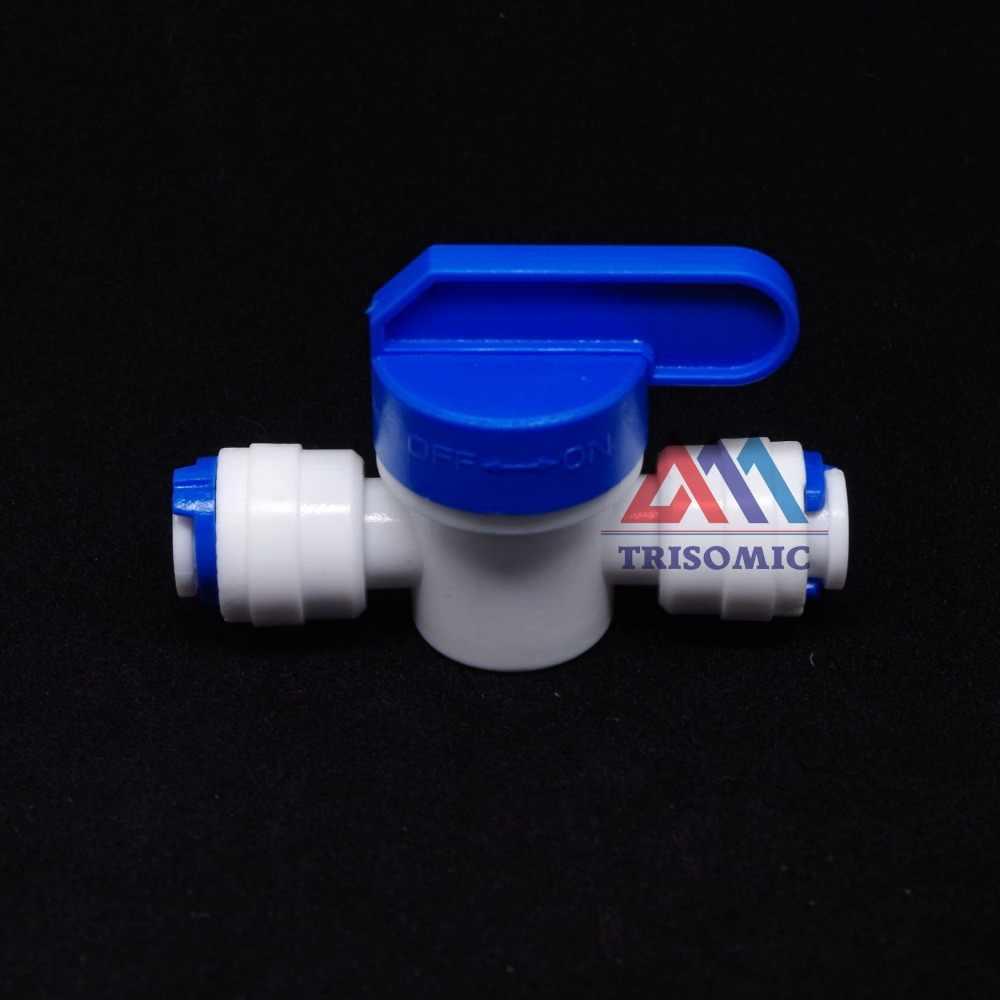 """3/8 """"مضمنة أنبوب الحنفية إيقاف الكرة صمام تركيب سريع اتصال حوض السمك RO تصفية المياه نظام التناضح العكسي"""