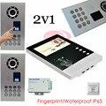 Smart Video Door Phone 4.3inch Color LCD +Fingerprint Recognitio/Password Unlock Outdoor Unit Waterproof(IP65) 2v1