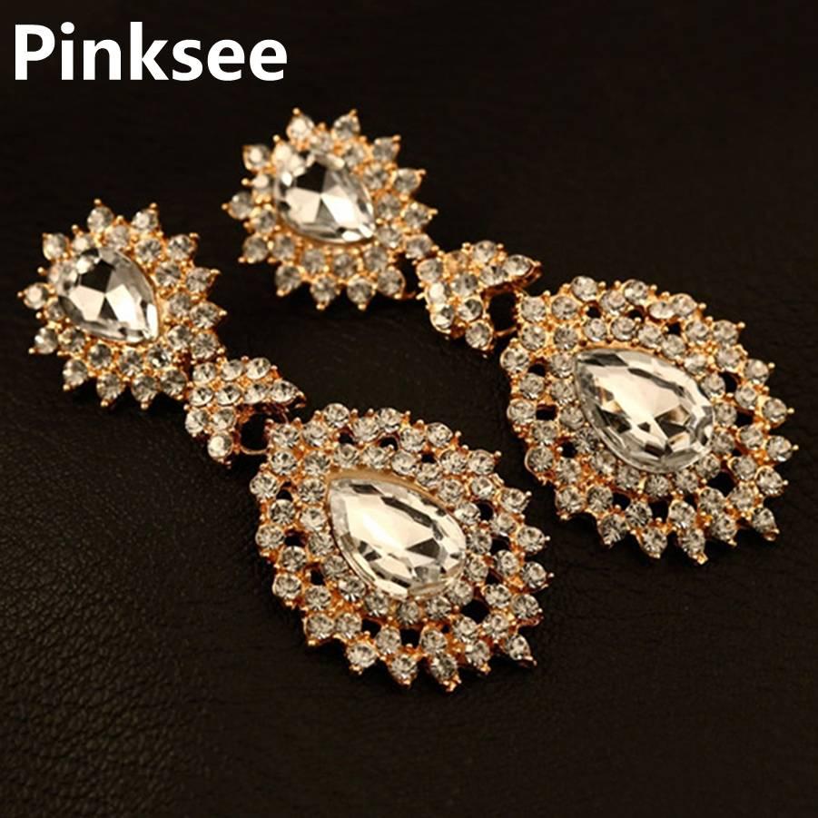 Elegant Cubic Zirconia Crystal Big Chandelier Earrings For ...