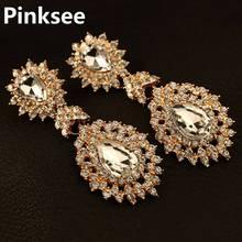 Elegant Cubic Zirconia Crystal Big Chandelier Earrings For Women Lady Fashion Wedding Party Long Jewelry