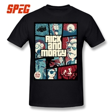 Rick and Morty GTA 5 Style T Shirt 100% Cotton Plus Size Short Sleeve Pink T-Shirt Round Collar Vintage Printing Tees XXXXXL