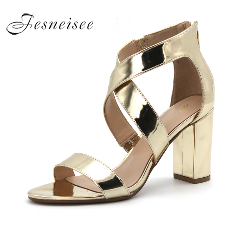 Fesneisee 2018 Woman Sandals Summer Gladiator Sandal Platform Peep toe Ankle strap Square High Heel Luxury Sexy Shoes Woman 4.0 lanshulan wedges gladiator sandals 2017 summer peep toe platform slippers casual glitters shoes woman slip on flats creepers