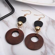Hot style simple fashion sweet geometric wooden earrings for women