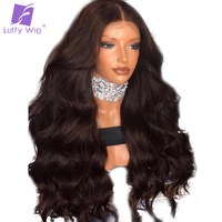 Luffy 13x6 Part Space 180 Density Peruvian Non Remy Human Hair Lace Front Wig For Black