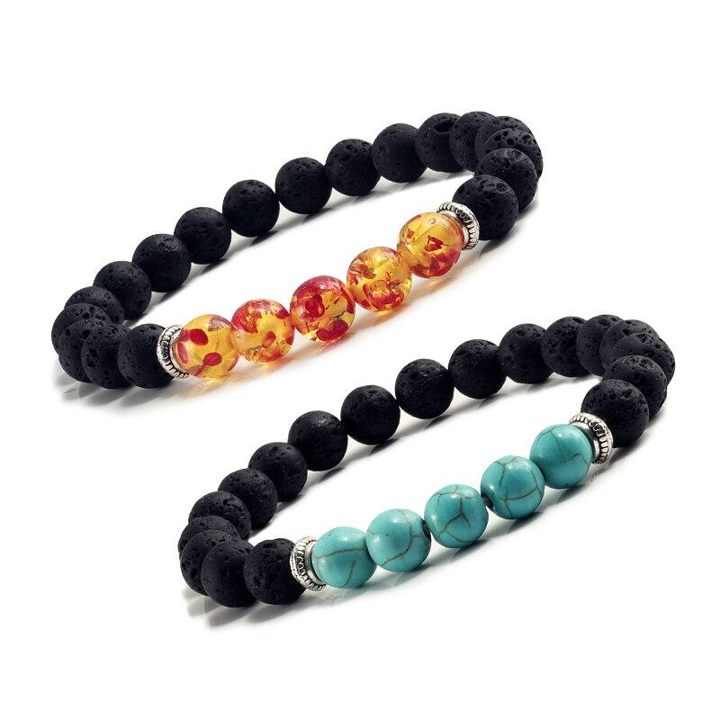 Natural Volcanic Stone Bracelets Charm Women Chakra Balance Beads Men Black Lava Turquoises Strand Bangle Fashion Buddha Jewelry 1