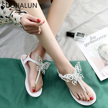 SUOJIALUN Women Sandals 2019 Summer New Fashion Butterfly-knot Beach Flip Flops Ladies Flat Casual Non-slip Slides Slipper suojialun women sandals 2019 summer new fashion butterfly knot beach flip flops ladies flat casual non slip slides slipper