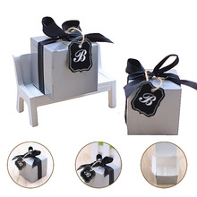 Фотография Ourdecor 50pcs Paper Candy Box Baby Shower Kids Favor Gift Boxes With Ribbon Birthday Party Christening Supplies caja de regalo