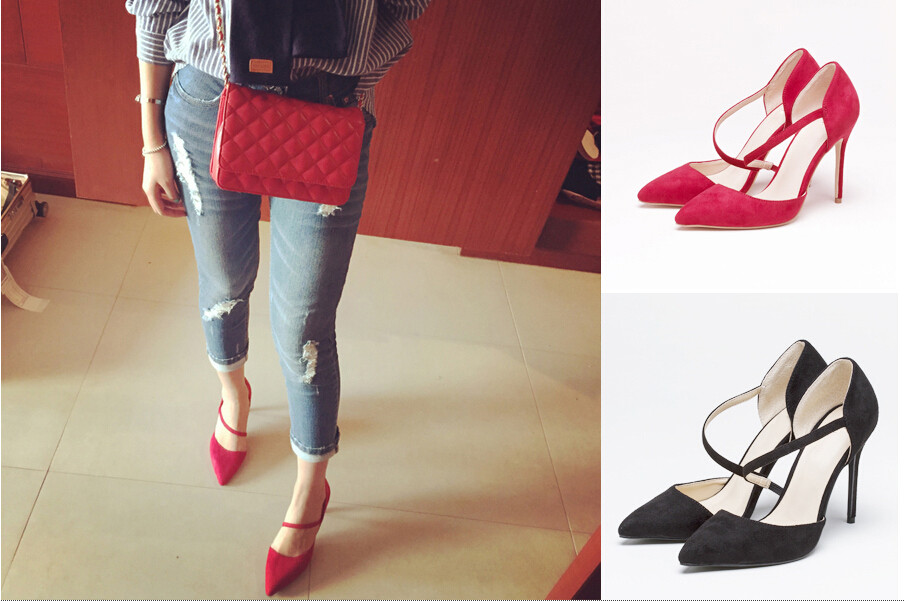 ФОТО New Fashion Woman Sexy Pumps Charming Red Black High Heels Office Lady Outfit Pointed Toe Concise Slip On Thin Heels Pumps