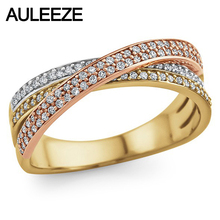 Moissanites Mult-Stone Pave Wedding Band 10K Solid Tricolor Gold Lab Grown Diamond Enternal Engagement Ring Matching Band