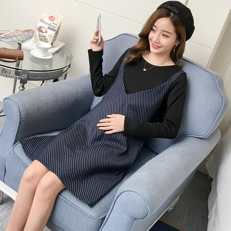 Pengpious pregnant women plus size clothes set long sleeve basic shirts with striped sundress twinset iPhone