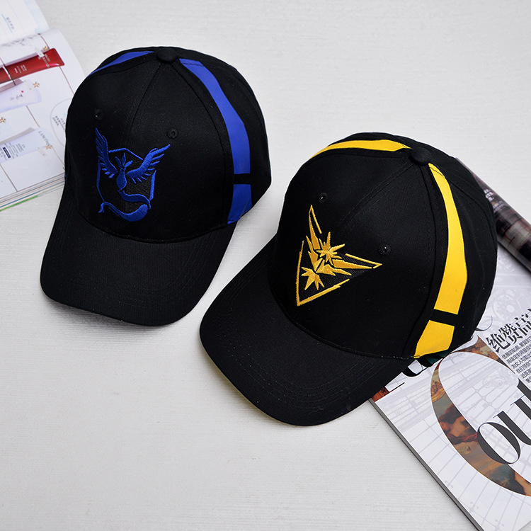 Pokemon Go Cap Hat Team Valor Team Mystic Team Instinct Pokemon Cap Go Team Black Baseball Cap Men Snapback Pokemon Hat Women футболка print bar pokemon go instinct team