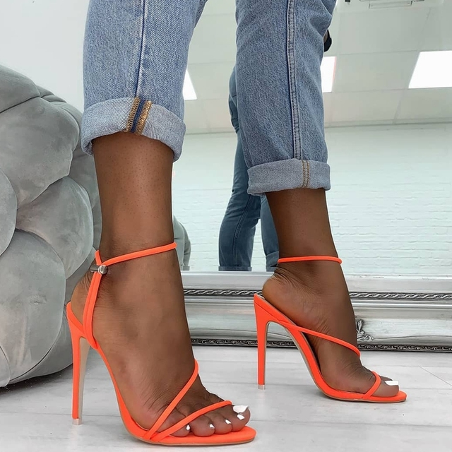 2019 Summer Pumps New Sexy Gladiator Sandals Shoes Women Thin High Heels Open Toe Sandal Lady Ankle Strap Pump Shoes Size 35-42 3