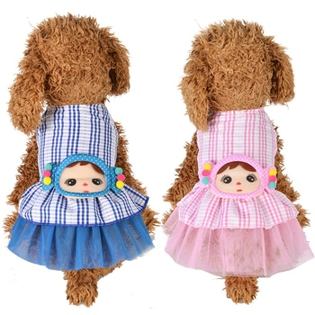 Summer Dog Princess Dress Cute Little Girl Design Clothes For Small Medium Female Dog Pet Plaid Printed Skirt Dress