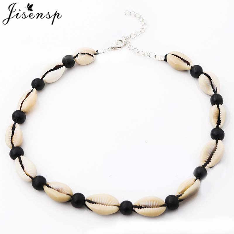 Jisensp Bohemian Summer Beach Shell Choker Necklace Simple Bead Seashell Necklace Fashion Jewelry for Women Girls Birthday Gift
