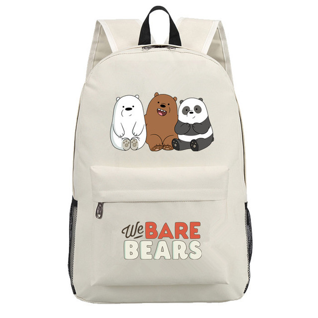 a79559cacdcb Lovely We bare bears Grizzly Panda Ice Bear backpack shoulder schoolbag  white traveling knapsack Boy Girls packsack