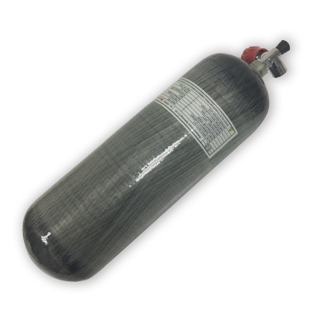CE certification 4500psi 300bar 9L High Pressure Composite Carbon Fiber Cylinder for pcp air tank for hunting with red valve
