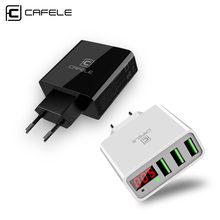 CAFELE 3 USB LED display travel US charger max 5V 3A Smart Fast charging Universal Travel for iphone huawei xiaomi
