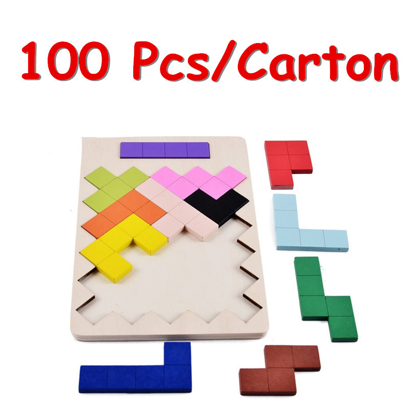 FCL Wholesale 100Pcs/Carton Tetris Baby Wooden Toys Family Game Geometric Tangram Puzzle Child Educational Classic Toys Gift 32 pcs setcolor changed diy jigsaw toys wooden children educational toys baby play tive junior tangram learning set