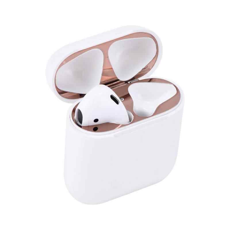 Dla Apple Airpods etui na słuchawki ochrony przed naklejki metalowe osłona przeciwpyłowa złoto srebro różowe złoto etui na słuchawki ochrony
