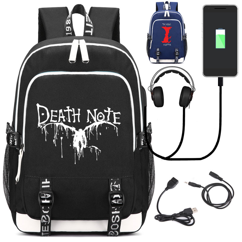 Death Note Backpack with USB Charging Port and Lock &Headphone interface for College Student Work fortnite backpack with usb charging port and lock
