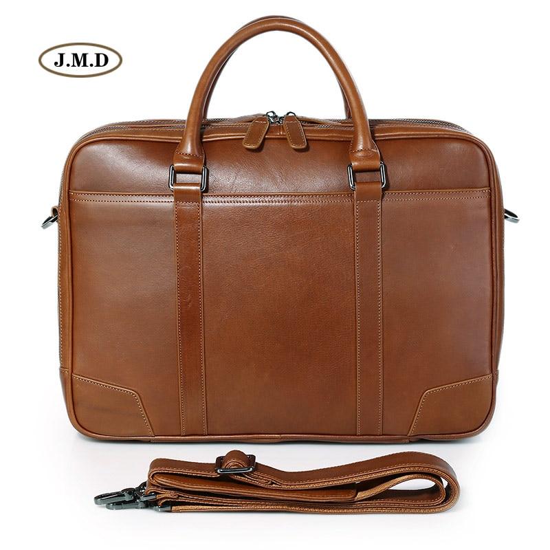 100%  Genuine Cow Leather Brown Men's Briefcase Classic Multi-Compartment Design Messenger Bag Laptop Handbag 7348B