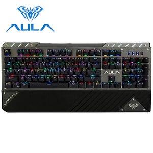Image 5 - Aula teclado de jogo mecânico rgb retroiluminado com fio interruptor azul 104 teclas anti ghosting ergonômico pulso resto gamer teclado #2030