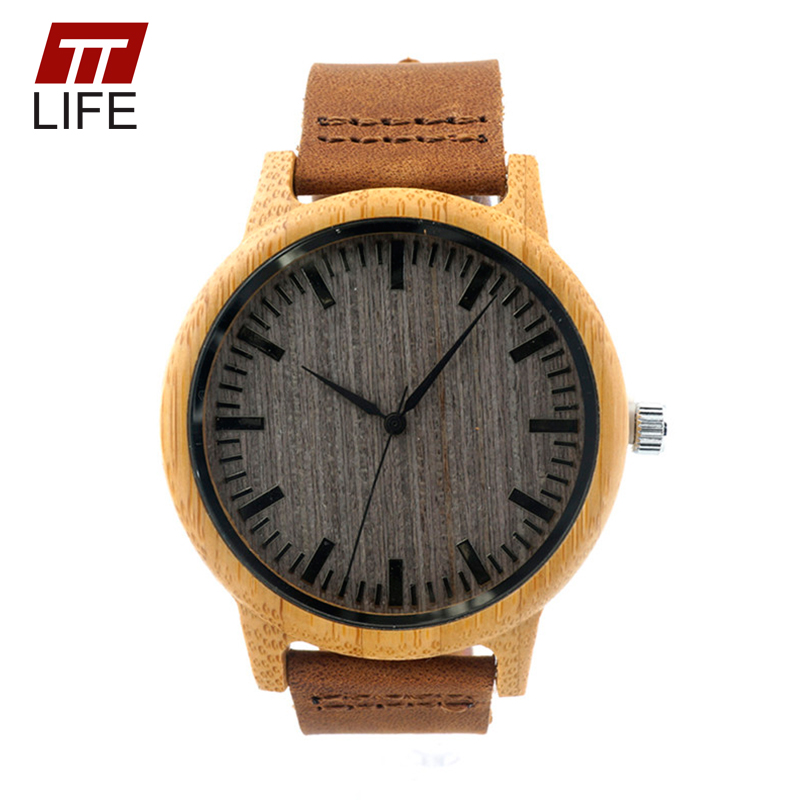 ФОТО TTLIFE Mens Womens Casual Handmade Watch Round Vintage Dial Genuine Luxury Brand Cowhide Leather Strap Woodenwatches A18