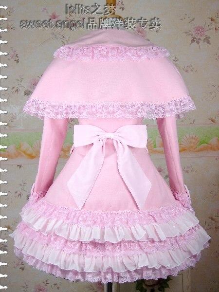 Милое розовое теплое зимнее милое пальто Лолиты зимние длинные пальто всех размеров с каппой - 2