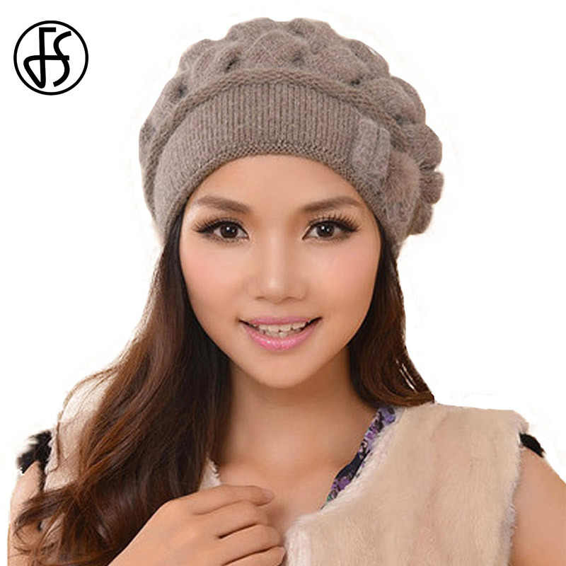 ebc25aab6e1ba FS Fashion Rabbit Wool Women Caps Thermal Warm Skullies Double Layer Knitted  Winter Hat Ear Protect