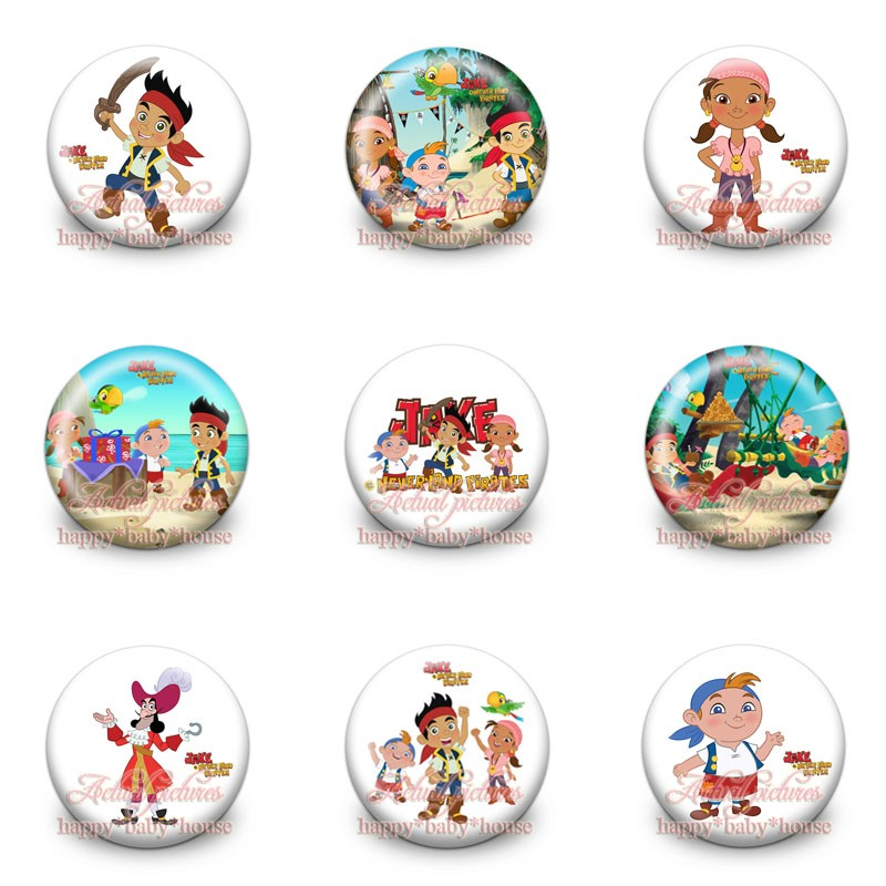 Mini 45Pcs Jack And The Never Land Pirates Buttons Pins Badges,Round Badges,30MM Diameter,Accessories For Clothing/Bags,Gifts