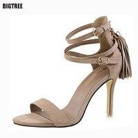 BIGTREE 2017 Sexy Women High Heels Sandals Suede Woman Sandals Thin Heel Tassel Women Shoes Women
