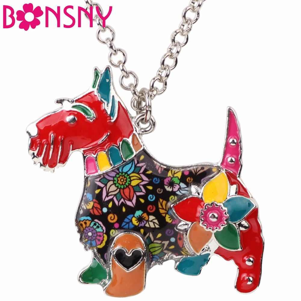 Bonsny Макси заявление из эмалированного металлического сплава шотландская собака цепочка-Колье Воротник Подвеска Мода 2017 новости ювелирные изделия для женщин