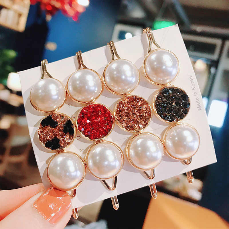 Korea Shiny Crystal Rhinestones Hairpins Geometric Rectangle Waterdrop Imitiation Pearl Hair Clips Hair Accessories