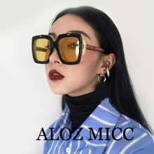 ALOZ MICC New 2018 Square Flip Sunglasses Women Fashion Design Retro Men Oversized Clamshell Sun Glasses for Female Glasses Q342