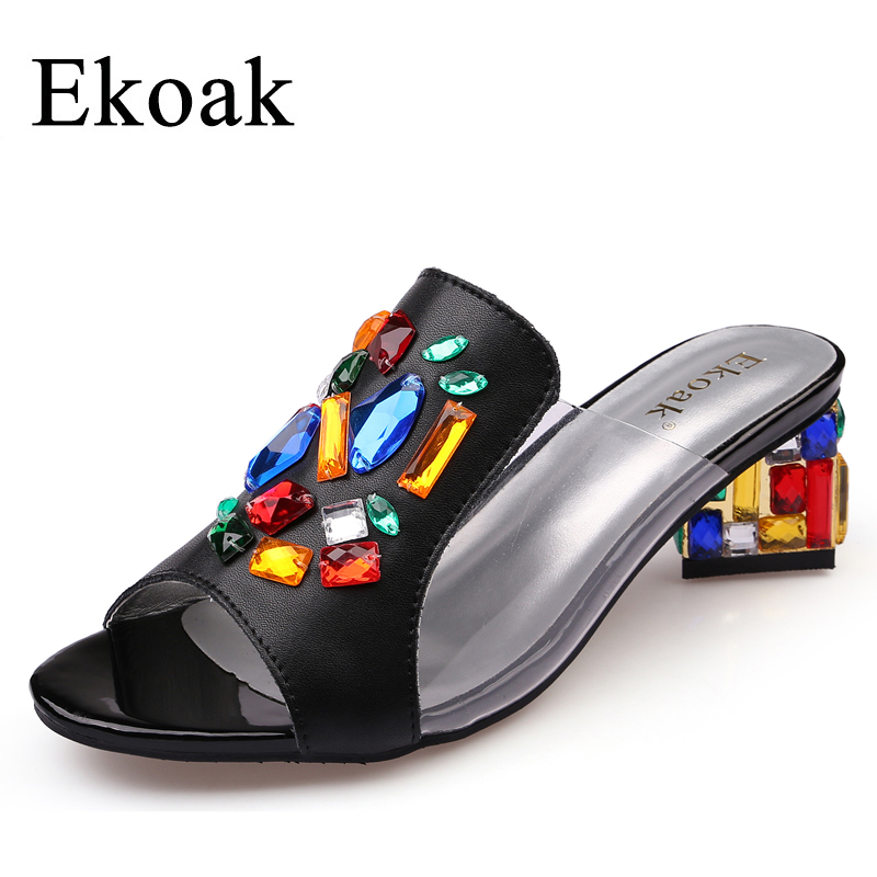 Ekoak New 2017 women High Heels rhinestone Genuine leather Sandals party wedding shoes fashion ladies women dress shoes woman цены онлайн