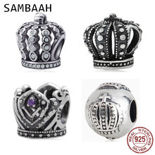 Sambaah Royal Crown Charm with CZ Stone 925 Antique Sterling Silver Queen Beads fit Pandora Women Basic DIY Bracelet