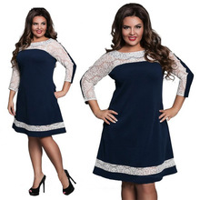 6XL 5XL 4XL 3XL 2018 New Plus Size Ladies Lace Patchwork Dress Fashion  Office Dresses( 8ee399307cf6