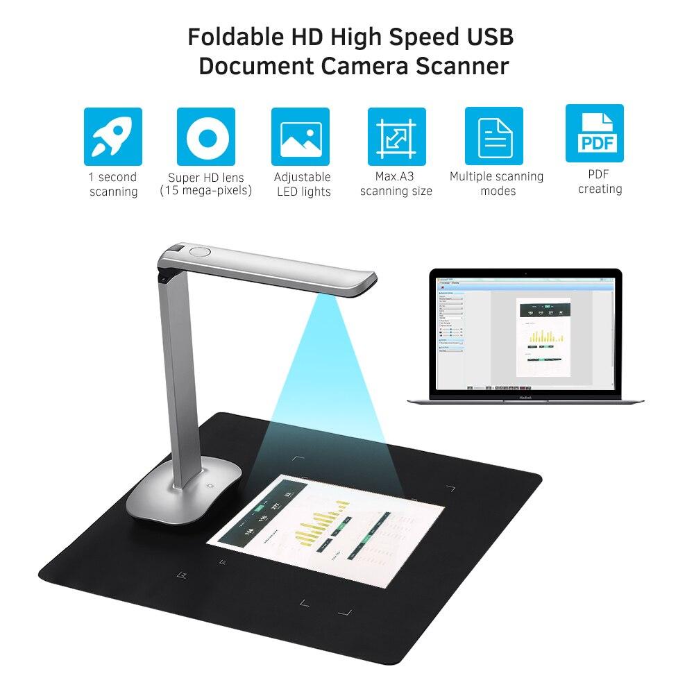 Aibecy F50 pliable HD USB livre Document caméra Scanner pédale lumière LED technologie AI 15 méga-pixels A3 & A4 Scanner