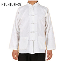 White New Spring Traditional Chinese Men S Linen Jacket Coat Long Sleeve Tang Suit With Pocket