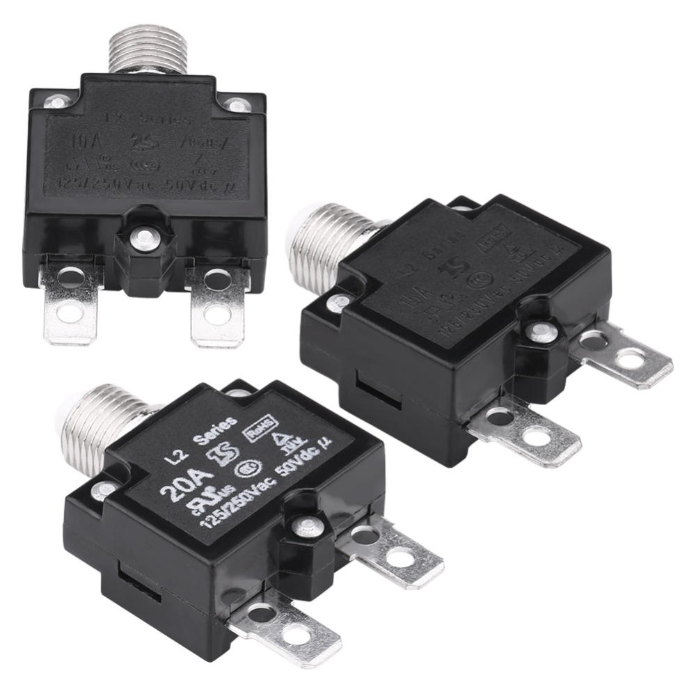 5Pcs Overload Protector AC 125//250V 20A Push Button Reset Circuit Breaker