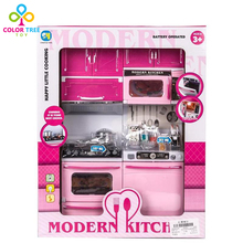 Kids Modern Pink Kitchen Toy Play Set Cookware with Lights and Sounds EducationaL Toys