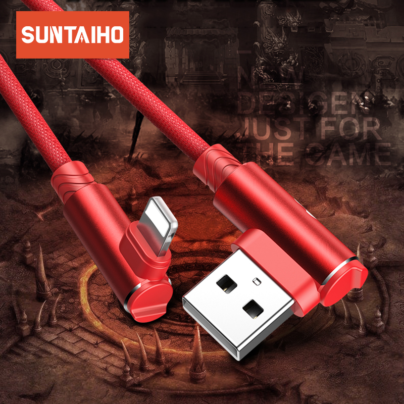 Suntaiho USB Cable for iPhone xs max XR 8 7 6 6s charging Cable 90 Degree Elbow Charging