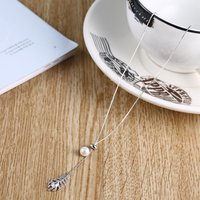 925 Sterling Silver Everlasting Grace Fresh Water Cultured Pearl Jew& Leaf-shape Crystal Pendant Link Chain Adjustable Necklace