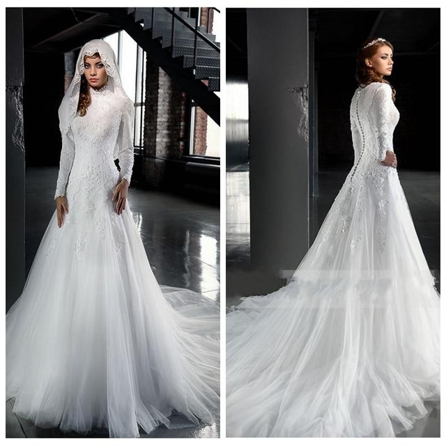 Elegant Long Sleeves Middle East Dubai Modest Wedding Dresses Lace ...