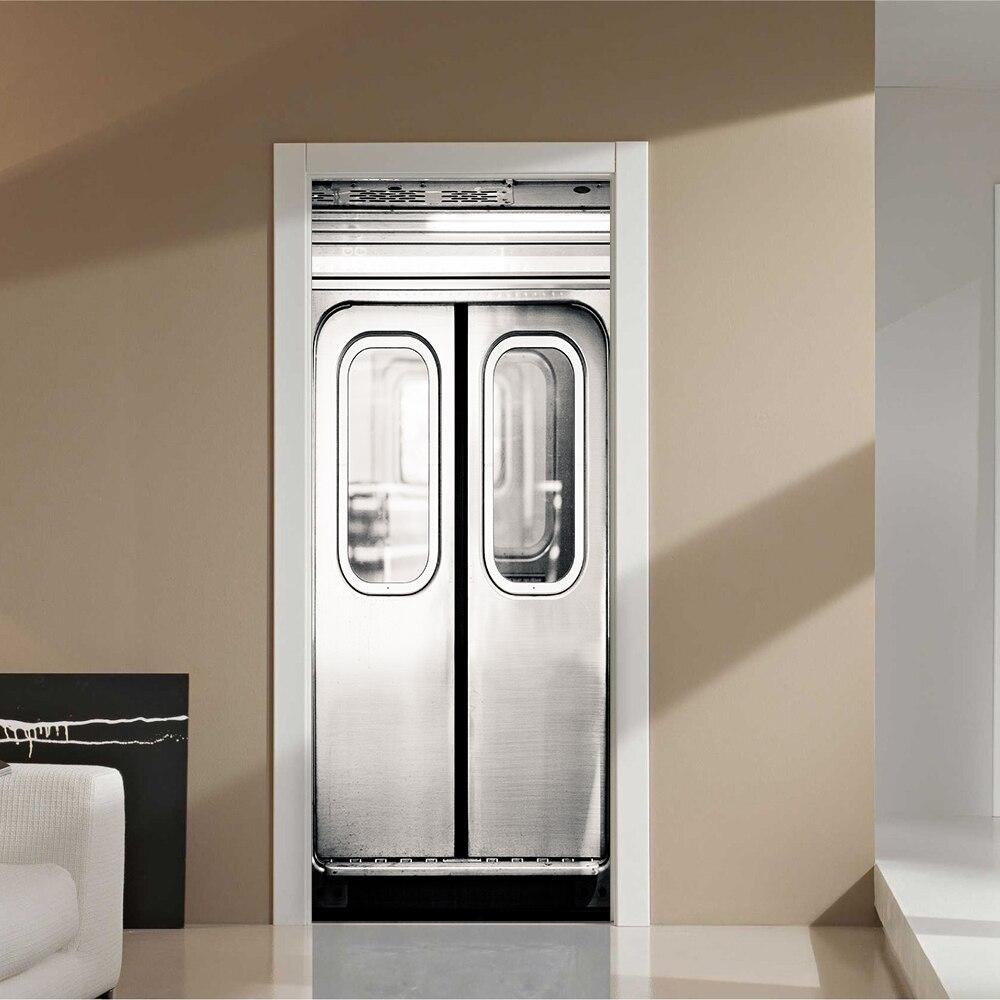 Home Creative Diy 3d Door Stickers Subway Train Door
