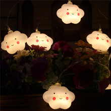 Smile Clouds String Lights Battery Powered Bedroom Party Holiday Cute Decoration Garland Strip Lighting 1.5M 10LED Tools