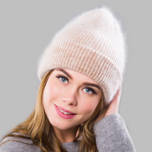 Fashion Solid Pink Rabbit fur Beanie Hats for Women Winter Skullies Warm Gravity Falls Cap Gorros Female Bonnet