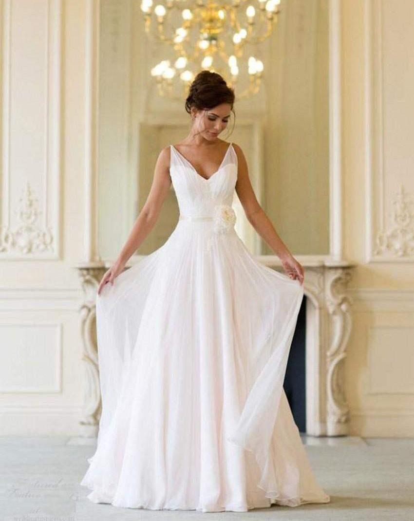 Grecian Cheap Beach Wedding Dresses 2016 V Neck Flowing Vintage ...